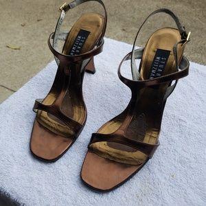 Stuart Weitzman Bronze Tungsten Women Strap Heels